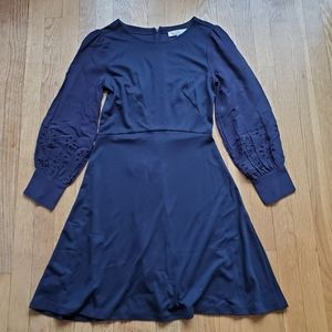 Loft navy a line dress with eyelet lace sleeves 2